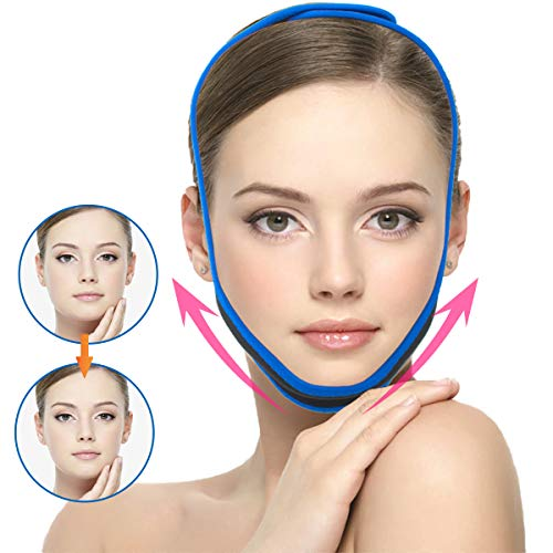 Facial Slimming Strap,Chin Up Patch Double Chin Reducer Face Lifting Belt Bandage Anti Wrinkle Face Mask Band V Line Lifting Chin Strap for Women Men Eliminates Sagging Skin Lifting Firming Anti Aging