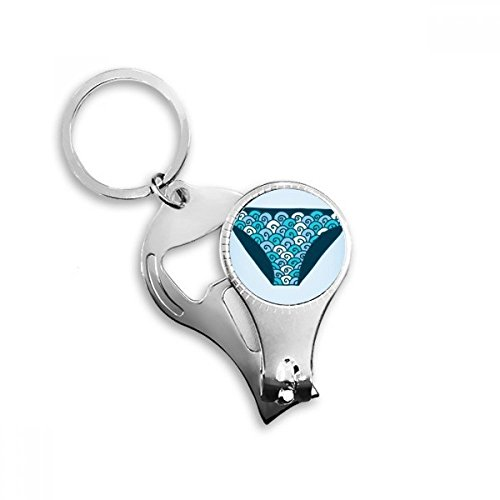 BeatChong Blau Badehose Illustration Muster Schlüsselanhänger Ring Toe Nail Clipper Cutter Scissor Tool Kit Flaschenöffner Geschenk