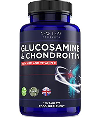 Glucosamine and Chondroitin High Strength - with MSM Extra Absorbency Enriched with Vitamin C, Glucosamine Sulphate Chondroitin Sulphate Gluten-Free, GMP, 120 Food Supplement Tablets