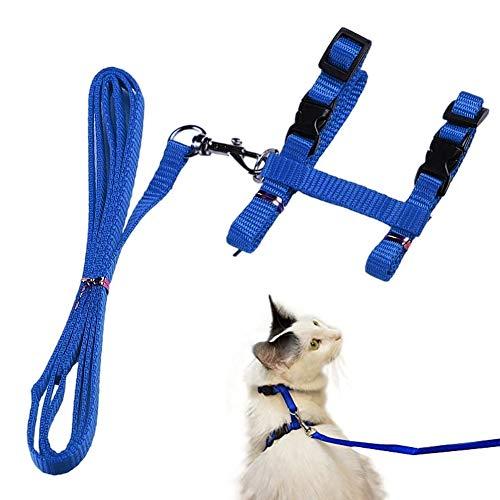 Katzengeschirr mit Leine Verstellbare Geschirre Katzenleine Kätzchenhalsband Ausbruchsichere Katzenweste für Kleine Katzen (Blau)