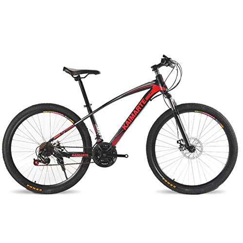 COSCANA Bicicleta De Montaña para Exteriores De 26'para Hombres Y Mujeres, Bicicletas Antideslizantes De 21-27 Velocidades, Bicicleta MTB Delantera De Acero De Alto CarbonoRed-24 Speed