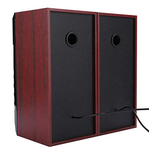 DAUERHAFT Laptop Speaker Lightweight Fashionable High Sensitivity Speaker Mini Size for Home(Red wood grain)