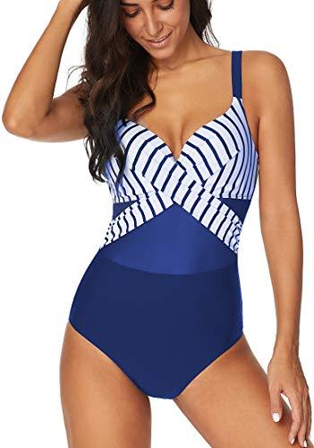 PANOZON Damen Cut Out Schlankheits Rückenfrei Badeanzug Push up Gaze Bademode mit Bügel Blau Streifen 2XL