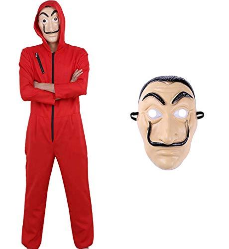 Tomlyws Kostüm Set Haus des Geldes Kostüm für Herren, Damen Erwachsene mit Maske, Overall Rot - Fasching, Karneval, Halloween XXL