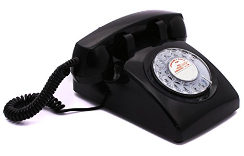 OPIS 60s CABLE with classic General Post Office styled dial card: designer retro phone/rotary dial telephone/retro style phone/vintage telephone/classic desk phone with rotary dialler (black)