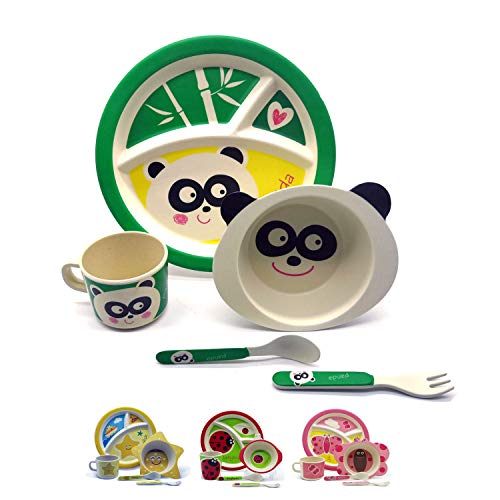Vajilla infantil de bambú juego de vajilla infantil de cubertería cuenco para cereales vasos plato para niño apto para lavavajillas. Eco Panda