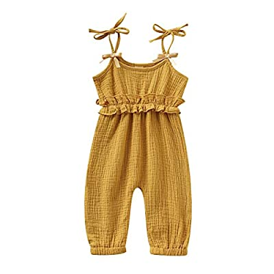 Kids Newborn Infant Baby Boys Girls One Piece Romper Clothes Jumpsuit Ruffled Halter Bodysuit Yellow from