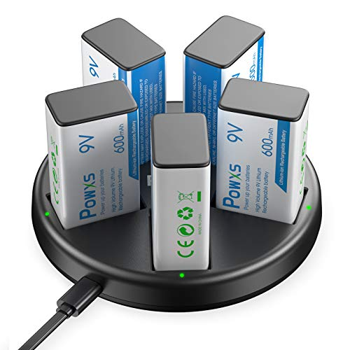 POWXS 9V Rechargeable Batteries 5 Counts Li-ion 9V Lithium Batteries 600mAh With 5 Slot 9V Battery...