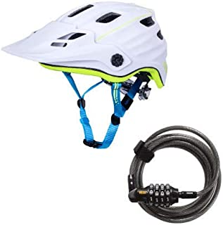 Kali Protectives Bike Helmet Maya 2.0 Revolt (White/Fluorescent Yellow, Small/Medium) and Combo Lock Bundle. Ventilated, Lightweight, CPSC Certified, High Visibility for Safety. (2 Items)