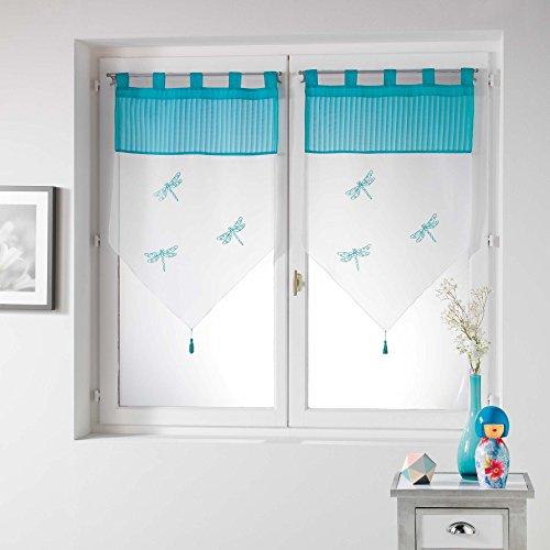 douceur d'intérieur Libellula Paire Pompon Passants Voile Brode, Polyester, Carmin, 90x60 cm