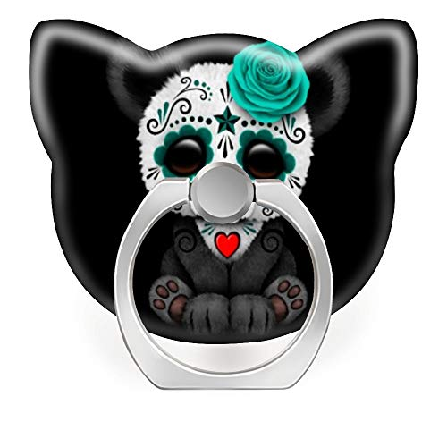 Phone Ring Stand Holder 360 Degrees Rotation Finger Ring Car Mount Hooks for iPhone X/Xr/Xs Max, iPhone 6/7/8 Plus, Galaxy S8/S9 Plus,Blue Day of The Dead Sugar Skull Panda on Black