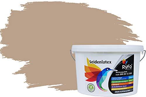 RyFo Colors Seidenlatex Trend Brauntöne Beige 12,5l - bunte Innenfarbe, weitere Braun Farbtöne und Größen erhältlich, Deckkraft Klasse 1
