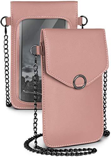 moex Handytasche zum Umhängen für alle Smartphones - Kleine Handtasche Damen mit separatem Handyfach & Sichtfenster - Crossbody Tasche, Rosa