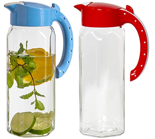 Red Co. Set of 2 Durable 50 Oz Glass Pitcher with Easy Refill Lid, Drip-Free Hot Cold Water Jug, Juice and Iced Tea Beverage Carafe
