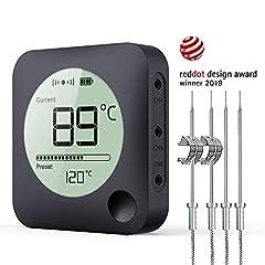 BFOUR Grille Bluetooth Thermometer Roast Thermometer met Uurwerk, 4 temperatuursensoren sondes digitale grill thermometer tegenlicht LED Display Instant Reading (met 4 sondes)*