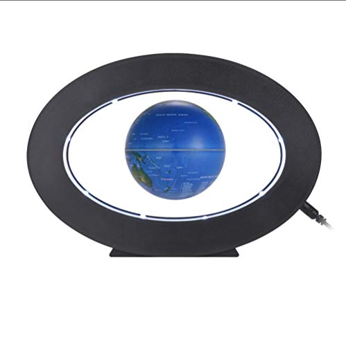 Globos Mapa del Mundo de 3 Pulgadas de levitación magnética Globo terráqueo con Base de Forma Ovalada de luz Blanca led para decoración de Escritorio de Oficina en casa