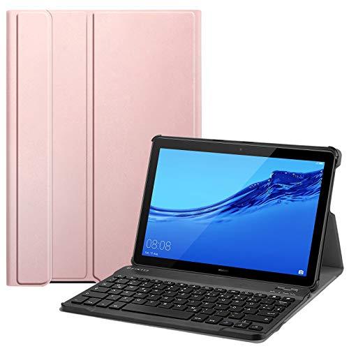 Fintie Bluetooth QWERTZ Tastatur Hülle für Huawei MediaPad T5 10 - Ständer Schutzhülle mit Magnetisch Abnehmbarer Drahtloser Deutscher Bluetooth Tastatur für Huawei T5 10.1, Roségold