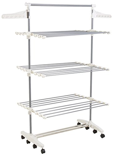 Tomons 3 Tier Stainless Steel Extendable Drying Rack with Side Wings, Rolling Folding Laudry Hanger for Clothes, Bed Linen, Shoes, Socks, Black