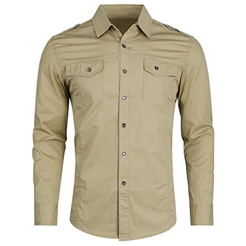Camisa de manga larga para hombre, ajuste delgado, informal, con botones, estilo militar, estilo militar, estilo retro, para hombre