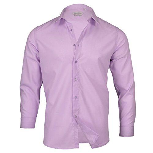 Fashion4Young 5926 Klassisches Herren Hemd Uni Männer Hemd Slim-Fit Langarm Business Freizeit (Flieder, XL)