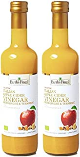 Earth's Finest Organic Apple Cider Vinegar with Ginger & Turmeric 500 ml Pack of 2