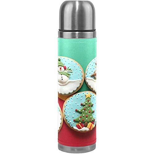 Like-like Decorado Galletas de Navidad Ciclismo Aislamiento al vacío Niños Termo Frasco Botellas de Agua de Acero Inoxidable + Copa de Bebida + Cubierta de Cuero Se Adapta a 500 ml