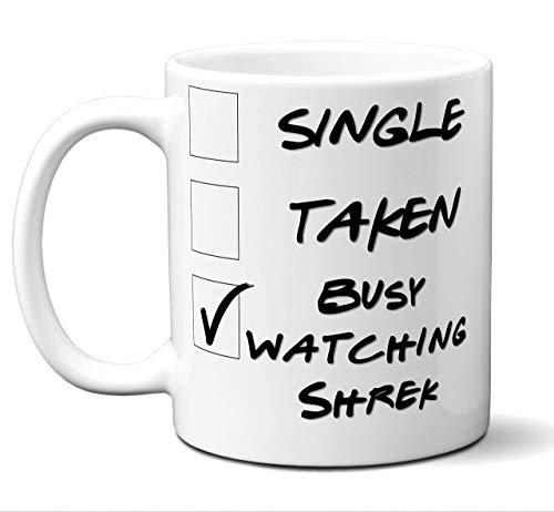 aza divertida del regalo del amante de la película de la novedad de Shrek. Soltero, tomado, ocupado mirando. Cartel, Hombres, Mujeres, Cumpleaños, Navidad, Día del Padre, Día de la Madre. 11 onzas