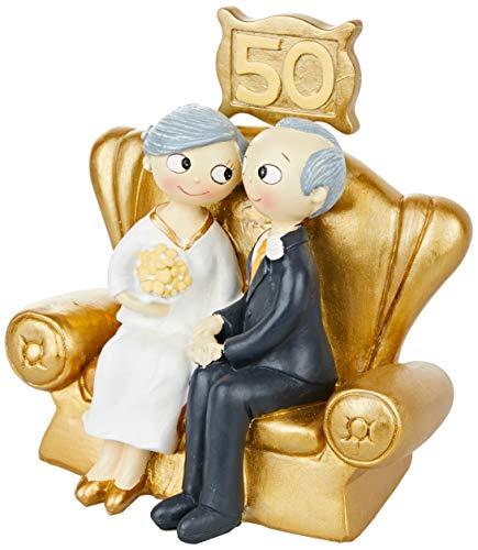 Mopec Pop & Fun Figur für Hochzeitstorte, Gold, 50. Jahrestag, 16x 16,5cm, Dark Gold