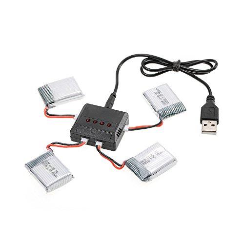 GoolRC 4pcs batería 3.7V 500mAh Li-po con 4 en 1 USB Kit de Cargador de batería para Wltoys F949 Avión Syma X5C X5SW X5SC X5HW Drone