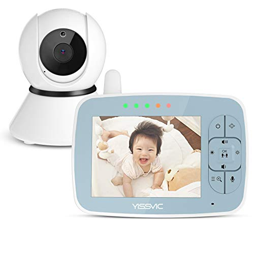 YISSVIC ベビーモニター オートトラッキング機能 4台カメラまで接続可能 見守りカメラ 遠隔監視カメラ 双方向音声通信 暗視機能付き ベビーカメラ 出産祝いプレゼント 日本語取扱説明書付 (3.5in)