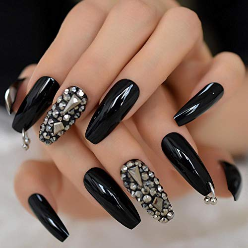 CSCH Faux ongles Silver Diamond Glossy Bright Black Ballerina Press on False Nails Extra Long Coffin UV Gel Glue On Fingersnails Adhesive Tapes