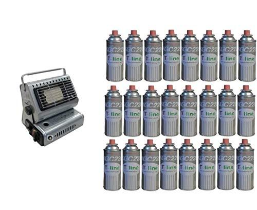 Radiateur Chauffage à gaz portable double connexion soit cartouches à gaz soit bouteilles + 24 Cartouche hommage