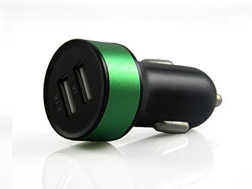 Car Charger Car Charger Adapter by Cable and Case - Universal Car Charger USB - Dual Car Charger Splitter for iPhone 6 7 8 X Plus iPad - Charge Samsung Galaxy S6 S7 S8, LG, Moto & More (Black/Green)