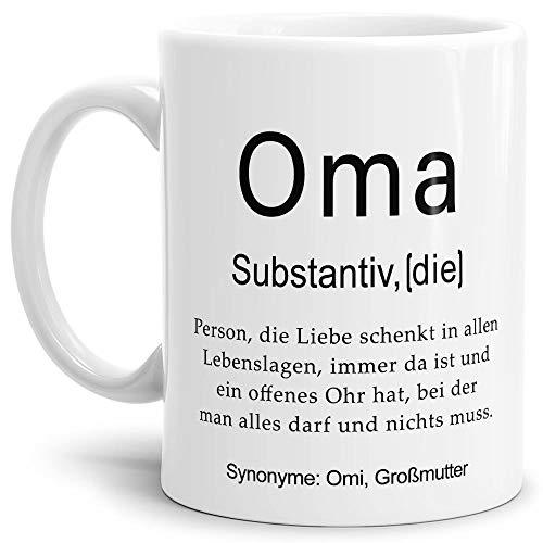 Tassendruck Tasse mit Definition Oma - Wörterbuch/Geschenk-Idee/Dictionary/Beruf/Job/Arbeit/Familie/Weiss