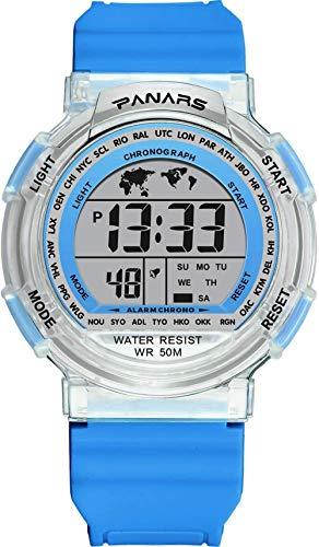 Reloj deportivo digital para hombre, resistente al agua, 50 m, multifunción, cronómetro 12 h/24 h, calendario, reloj de pulsera con cronómetro, esfera única, 7 colores cambiables, luz de fondo azul