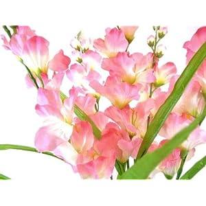 26″ Bouquet Pink Gladiolus Bush Artificial Silk Flowers LivePlant