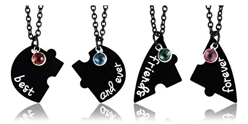 "JSDDE Set di 4 collane per partner BFF con ciondolo con incisione ""Best Friends Forever and Ever Cuoric"", regalo per sorelle e amici e base metal, colore: Nero , cod. GGDE20200730-jkn0534"