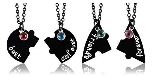 JSDDE Set di 4 collane per partner BFF con ciondolo con incisione 'Best Friends Forever and Ever Cuoric', regalo per sorelle e amici e base metal, colore: Nero , cod. GGDE20200730-jkn0534