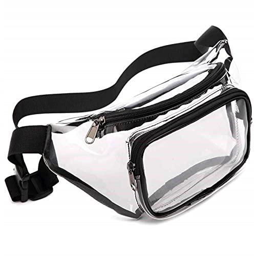 ZJHGQ Clear Fanny Pack Water Resistant Cute Waist Bag Adjustable Belt Bag for Travel Beach Events,black