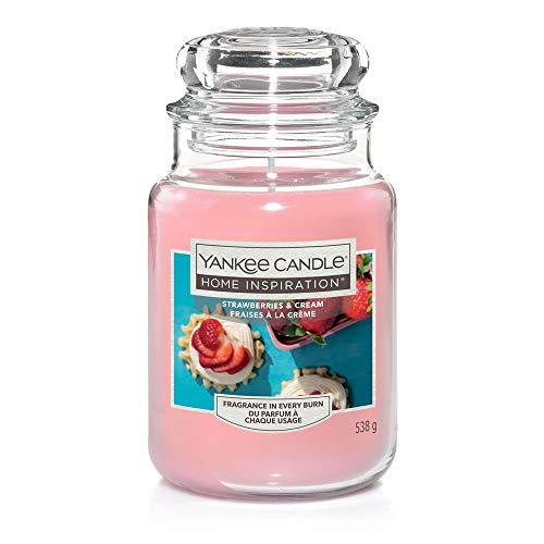 Yankee Candle Home Inspirations Duftkerze im Glas, Erdbeeren und Creme, groß