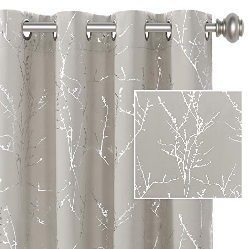 H.VERSAILTEX Blackout Curtains for Bedroom Foil Print Twig Tree Branch Thermal Insulated Grommet Curtain Drapes Light Blocking Thick Soft Window Curtains for Living 52 x 84 Inch Stone 2 Panels