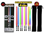 LIGHTSABER CHOPSTICKS LIGHT UP STAR WARS LED Glowing Light Saber Chop Sticks REUSABLE Sushi Lightup Sabers Removable Handle Dishwasher Safe 8 Color Modes 4 Pairs