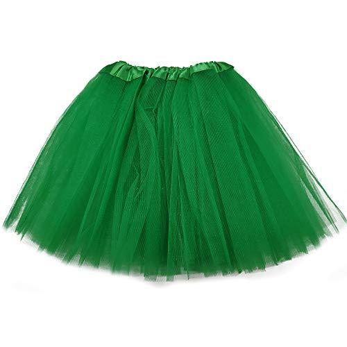 MUNDDY Tutu Elastico Tul 3 Capas 30 CM de Longitud para niña Bebe Distintas Colores Falda Disfraz Ballet (Verde Oscuro)