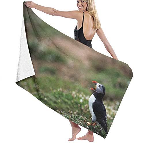 Ameok-Design Grasvogel Schnabel Atlantik DeadlockStrandtuch groß Pool Handtuch Weiche Mikrofaser Mehrzweck-Einsatz saugfähige Handtücher 78,7 x 137,1 cm