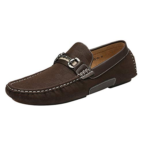 Bruno Marc Men's Santoni-03 Brown Penny Loafers Moccasins Shoes Size 9.5 M US