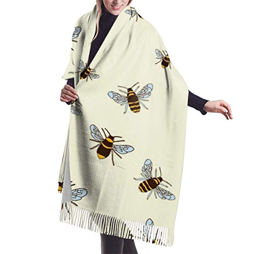 Womens Thick Soft Cashmere Wool Feel Pashmina Shawl Wrap Scarf - Aone Warm Stole(Bees On Cream)