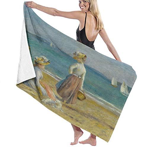 Grande Suave Ligero Toalla de Baño Manta,Figuras en la Playa por Auguste Renoir 1890 Pintura impresionista Francesa,Hoja de Baño Toalla de Playa por la Familia Hotel Viaje Nadando Deportes,52' x 32'