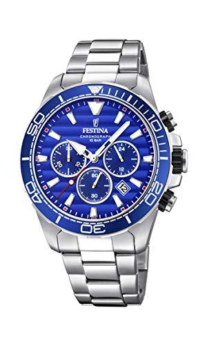 Festina Herren Chronograph Quarz Uhr mit Edelstahl Armband F20361/2