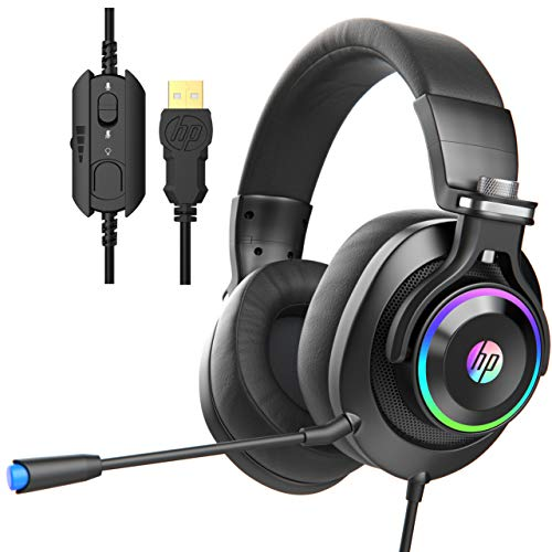 HP USB PC Gaming Headset with Microphone. 7.1 Surround Sound, RGB LED Lighting, Noise Isolating Over Ear Game Headphones with Detachable Mic for PC, PS4, Mac, Laptop - Black