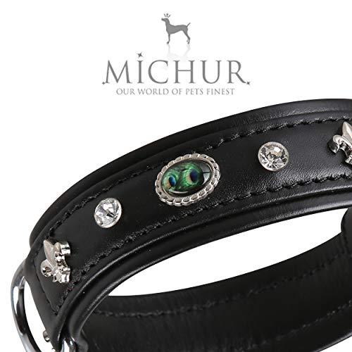 MICHUR EL Pavo Hundehalsband Leder, Lederhalsband Hund, Halsband, Schwarz, Leder, mit Lilien,Strasssteinen und grossem Pfauenauge, in verschiedenen Größen erhältlich